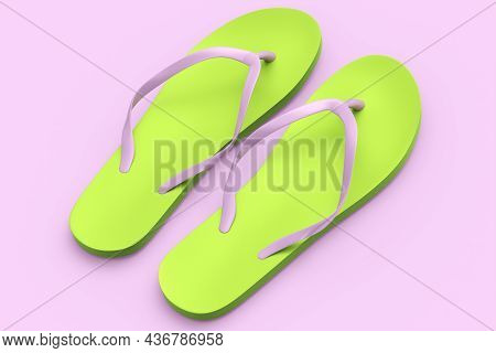 Beach Green Flip-flops Or Sandals Isolated On Pink Background.