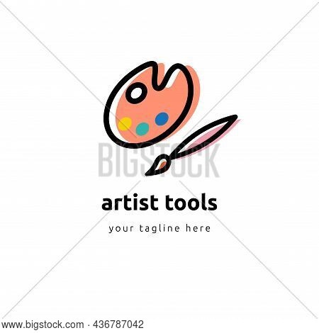 Flat Colorful Palette With Paintbrush Circle Icon. Back To School And Education Vector Illustration.