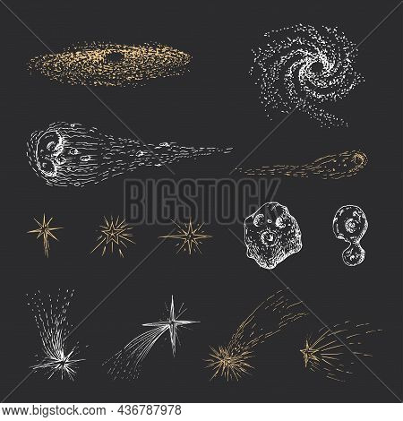 Meteors, Comets And Stars, Collection Of Drawings.