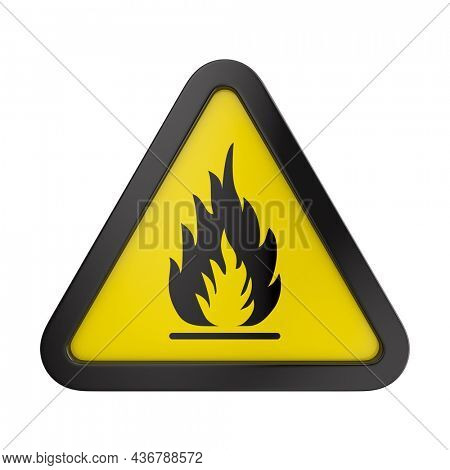Fire warning sign in yellow triangle. Flammable, inflammable substances on white background. Isolated 3D illustration
