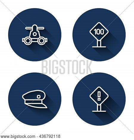 Set Line Handcar Transportation, Speed Limit Traffic Sign 100 Km, Train Driver Hat And Exclamation M