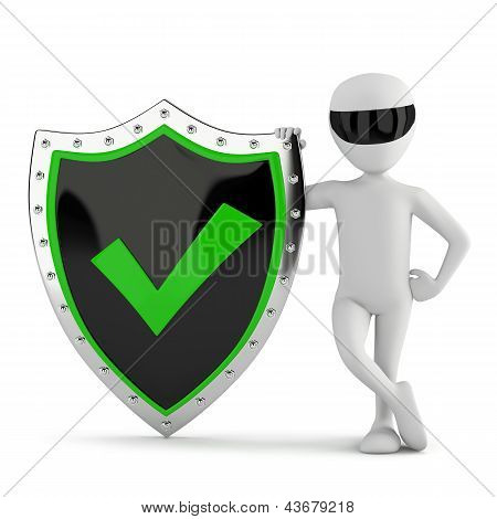 3D Small Person - Shield With A Tick.