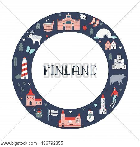 Poster In A Modern Flat Style With Famous Symbols And Landmarks Of Finland