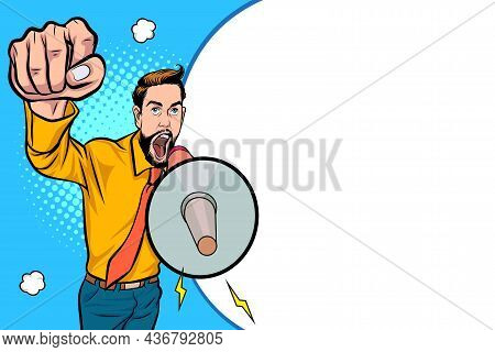 Hipster Man And Megaphone With Empty Space  Pop Art Comics Style.