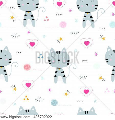Cute Cat With Heart Icon Seamless Pattern Hand Drawn In Childish Style, Use For Print, Wallpaper, Fa