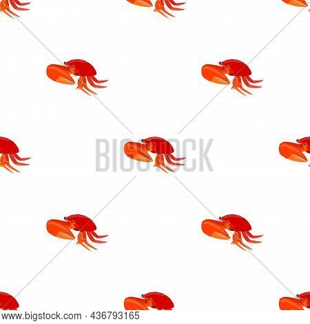 Red Crab With Big Claws Pattern Seamless Background Texture Repeat Wallpaper Geometric Vector