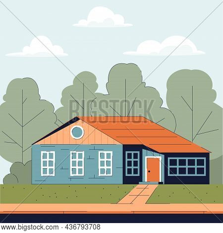 Country House With An Annex And A Large Attic
