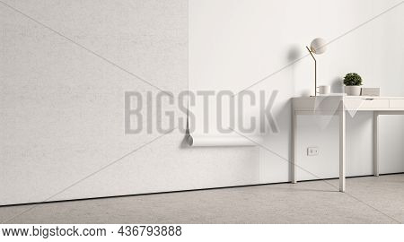 Blank White Interior Wallpaper Twisted Mockup On Wall, Side View, 3d Rendering. Empty Decorative Pap