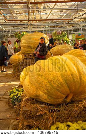 Russia, Moscow, October 2021. Visitors At The Exhibition Of Huge Pumpkins And Autumn Flowers In The