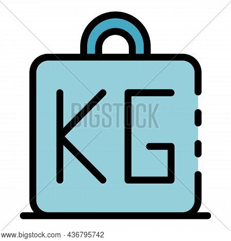 Fat Weight Kg Icon. Outline Fat Weight Kg Vector Icon Color Flat Isolated