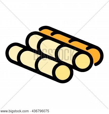Sugar Sticks Icon. Outline Sugar Sticks Vector Icon Color Flat Isolated