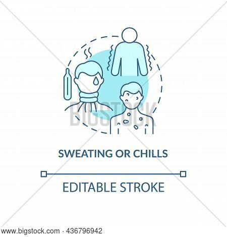 Sweating And Chills Blue Concept Icon. Pneumonia Symptom Abstract Idea Thin Line Illustration. Fight