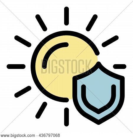 Sun Protection Shield Icon. Outline Sun Protection Shield Vector Icon Color Flat Isolated