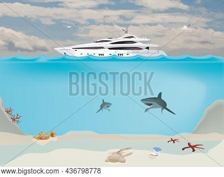 Deep Sea Boat With Marine Nature Deep Sea Boat With Marine Nature