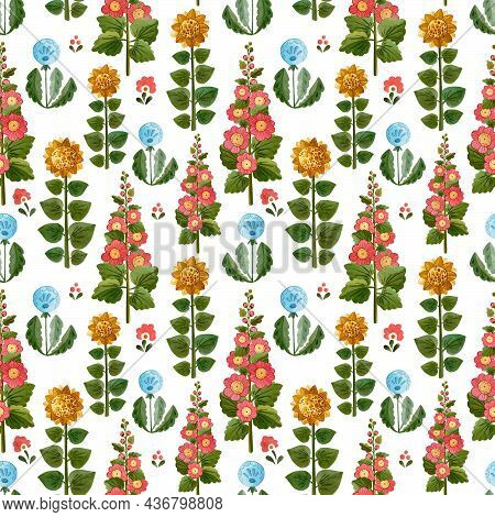 Cute Watercolour Pattern With Farm\'s Flowers. Pattern On White Background. Illustration With Dandel