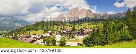 Belluno, Italy - August 17, 2018: Resort Town In The Highlands Of The Dolomites Of Italy, Cortina D