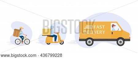 Online Delivery Service And E-commerce Concept. Fast Shipping According To Customers Orders By Bikes