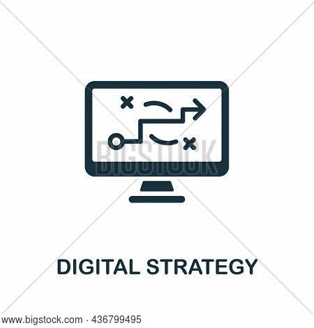 Digital Strategy Icon. Monochrome Sign From Content Marketing Collection. Creative Digital Strategy