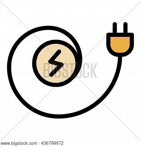 Electric Cable Plug Icon. Outline Electric Cable Plug Vector Icon Color Flat Isolated