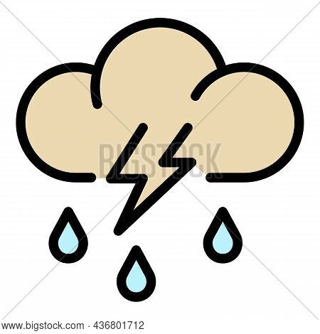 Storm Rainy Cloud Icon. Outline Storm Rainy Cloud Vector Icon Color Flat Isolated