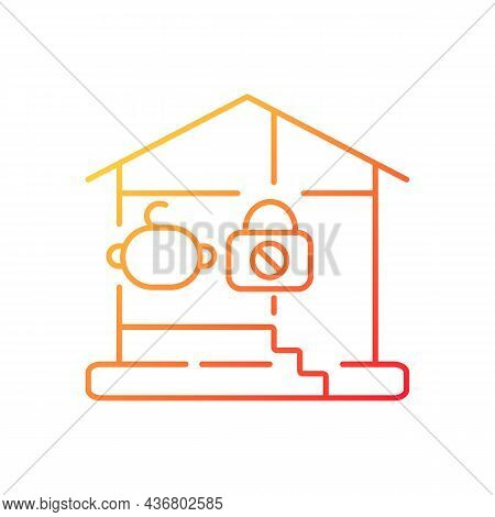 Lock Basement Door Gradient Linear Vector Icon. Child Safety. Baby Falling And Trauma Prevention. Ch