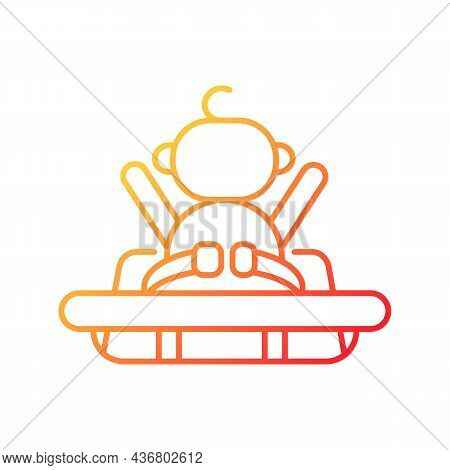Buckle Safety Strap In Grocery Cart Gradient Linear Vector Icon. Child Safety During Shopping. Faste