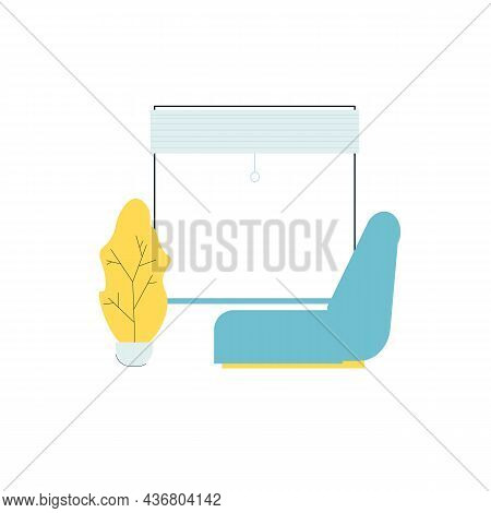 Vector Flat Cartoon Chair And Home Plant Next To Window Isolated On Empty Background-modern Furnitur