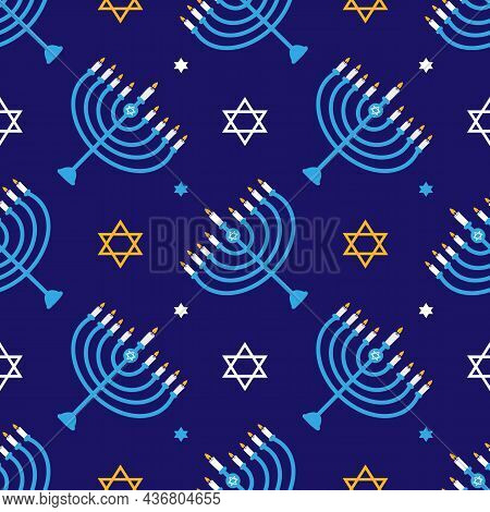 Hanukkah Vector Seamless Pattern Background With David Stars And Menorah With Nine Lighting Candles.