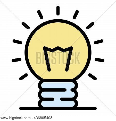 Light Bulb Idea Icon. Outline Light Bulb Idea Vector Icon Color Flat Isolated