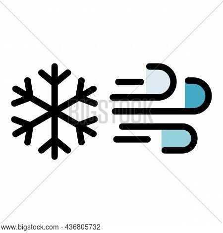 Climate Wind Snowflake Icon. Outline Climate Wind Snowflake Vector Icon Color Flat Isolated