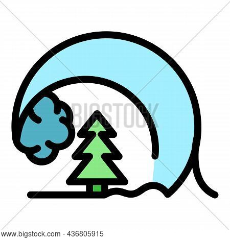 Tsunami Wave On Park Icon. Outline Tsunami Wave On Park Vector Icon Color Flat Isolated