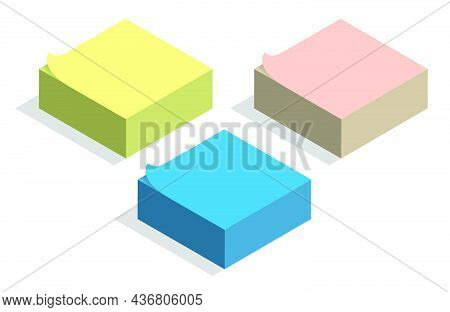 Isometric Stack Of Paper Sticky Notes For Recording Tasks And Reminders. Realistic 3d Vector Isolate