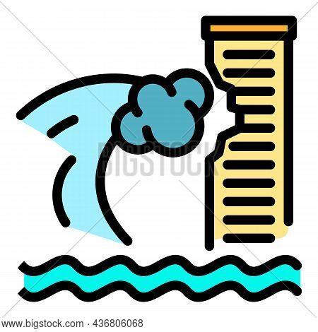 Tsunami Wave On Skyscraper Icon. Outline Tsunami Wave On Skyscraper Vector Icon Color Flat Isolated