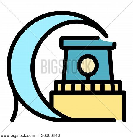 Tsunami On Lighthouse Icon. Outline Tsunami On Lighthouse Vector Icon Color Flat Isolated