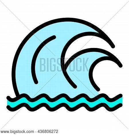 Double Tsunami Wave Icon. Outline Double Tsunami Wave Vector Icon Color Flat Isolated