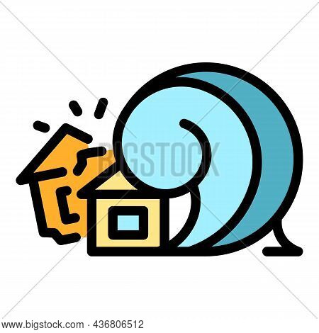 Disaster House Tsunami Icon. Outline Disaster House Tsunami Vector Icon Color Flat Isolated