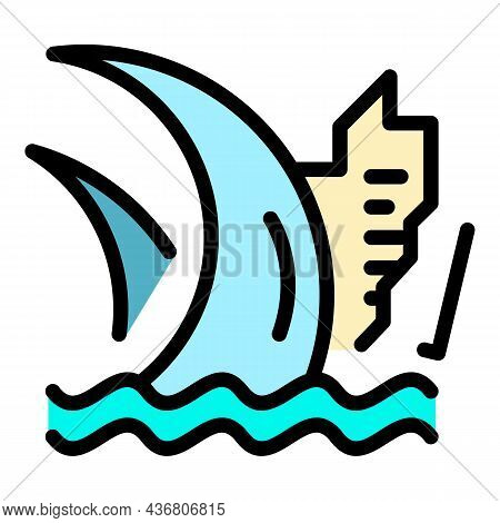 Water Tsunami Icon. Outline Water Tsunami Vector Icon Color Flat Isolated