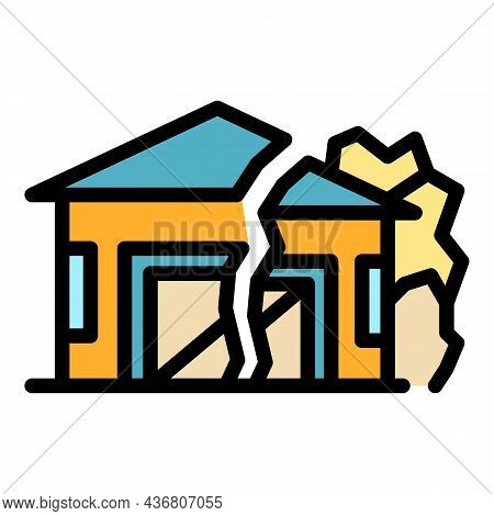 Ground House Erosion Icon. Outline Ground House Erosion Vector Icon Color Flat Isolated
