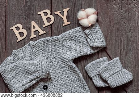 Knitted Booties And A Cardigan For Baby, Natural Colors And Materials, Taking Care Of A Newborn, A G