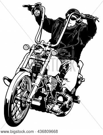 Biker On A Chopper - Black And White Hand Drawn Illustration Isolated On White Background, Vector