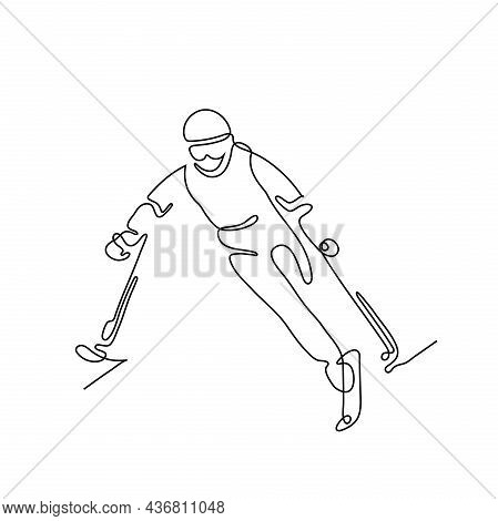 One Line Drawing Of A Sportsman  With Disability. Athlete Alpine Skier Amputee.  Athletics. Vector I