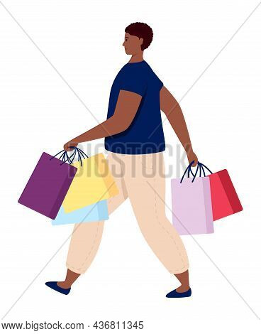 Shopping Person Consumer With Purchase Bags Vector Illustration