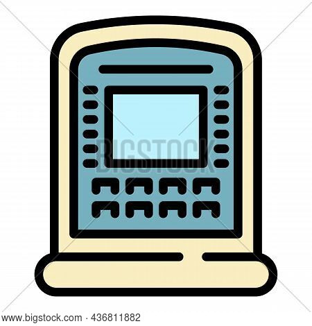 Atm Withdraw Icon. Outline Atm Withdraw Vector Icon Color Flat Isolated