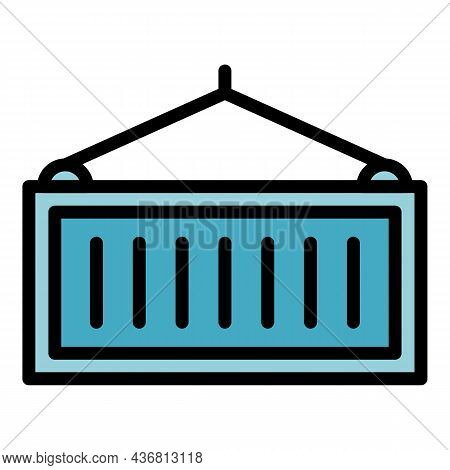 Port Container Icon. Outline Port Container Vector Icon Color Flat Isolated