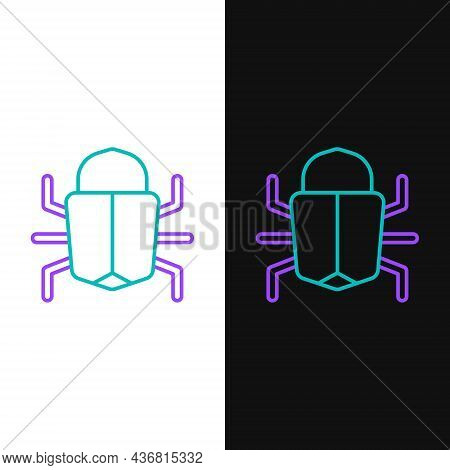 Line System Bug Concept Icon Isolated On White And Black Background. Code Bug Concept. Bug In The Sy