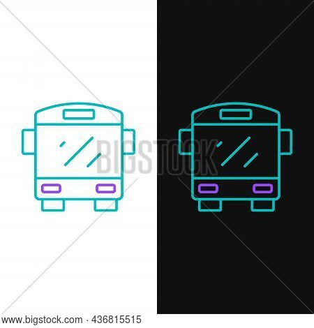 Line Bus Icon Isolated On White And Black Background. Transportation Concept. Bus Tour Transport Sig