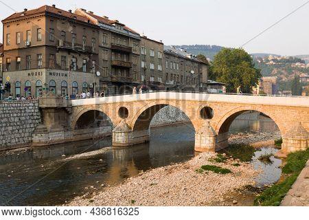 Sarajevo, Bosnia And Herzegovina - August 25, 2012: The Latin Bridge In Sarajevo City In Bosnia And