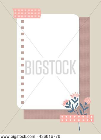 A Sheet Of Notebook Paper Taped To Wall With Pink Duct Tape. Notepaper, Flowers And A Sheet Of Textu