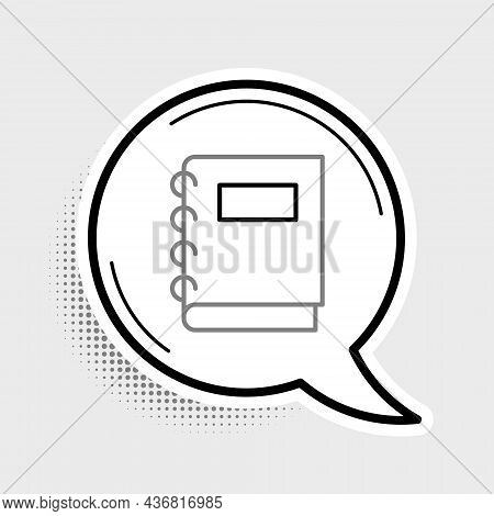 Line Notebook Icon Isolated On Grey Background. Spiral Notepad Icon. School Notebook. Writing Pad. D