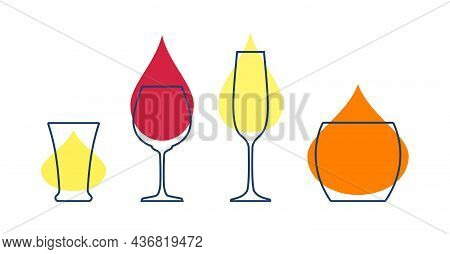 Four Glasses With Tequila, Red Wine, Champagne And Whiskey. Shot Glass Drinks. Template Alcohol Beve